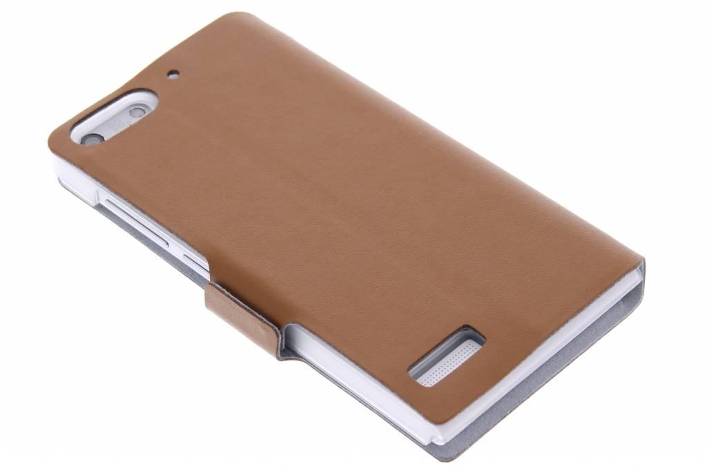 Bruine luxe booktype hoes voor de Huawei Ascend G6