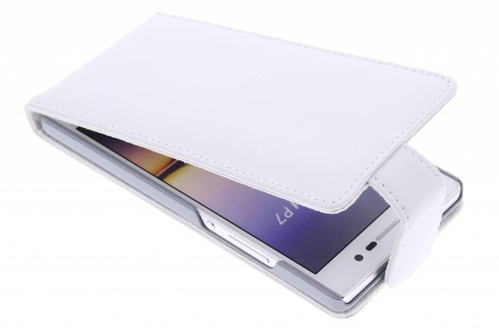 Witte stijlvolle flipcase voor de Huawei Ascend P7
