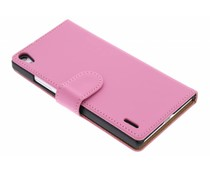 Roze effen booktype hoes Huawei Ascend P7