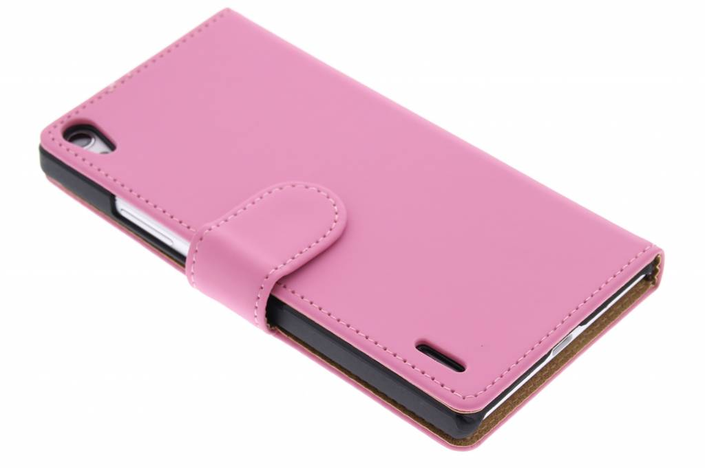 Roze effen booktype hoes voor de Huawei Ascend P7