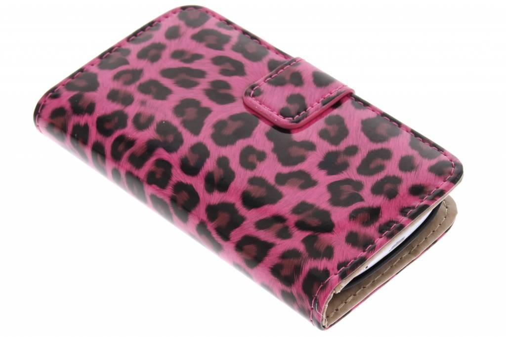 Fuchsia glanzende luipaard booktype hoes voor de Samsung Galaxy S3 Mini