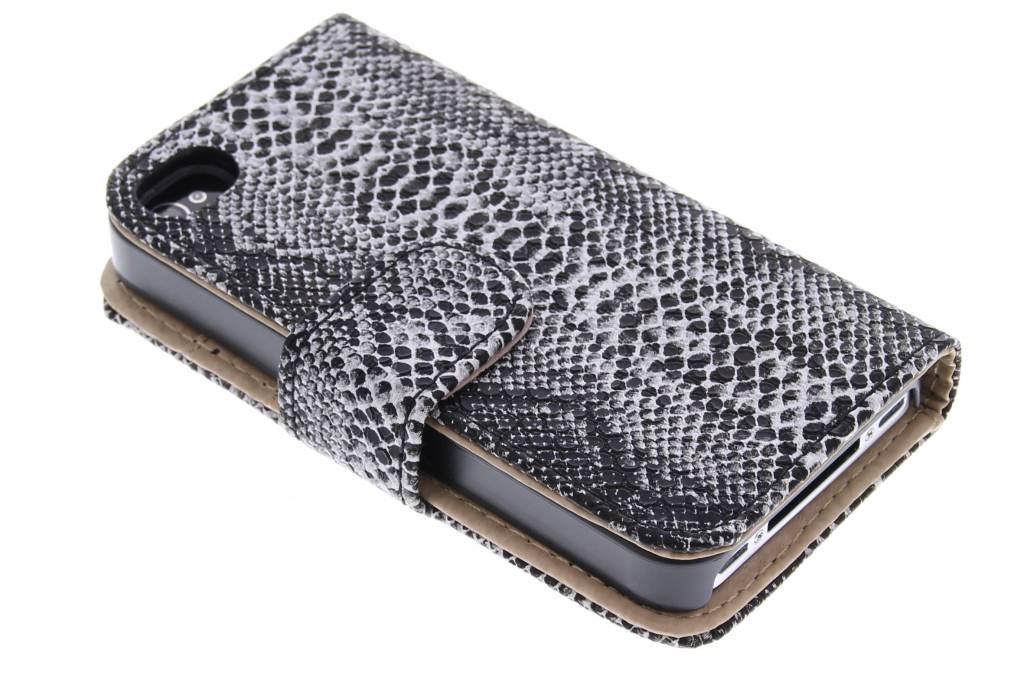 Zwarte slangenprint booktype hoes voor de iPhone 4 / 4s