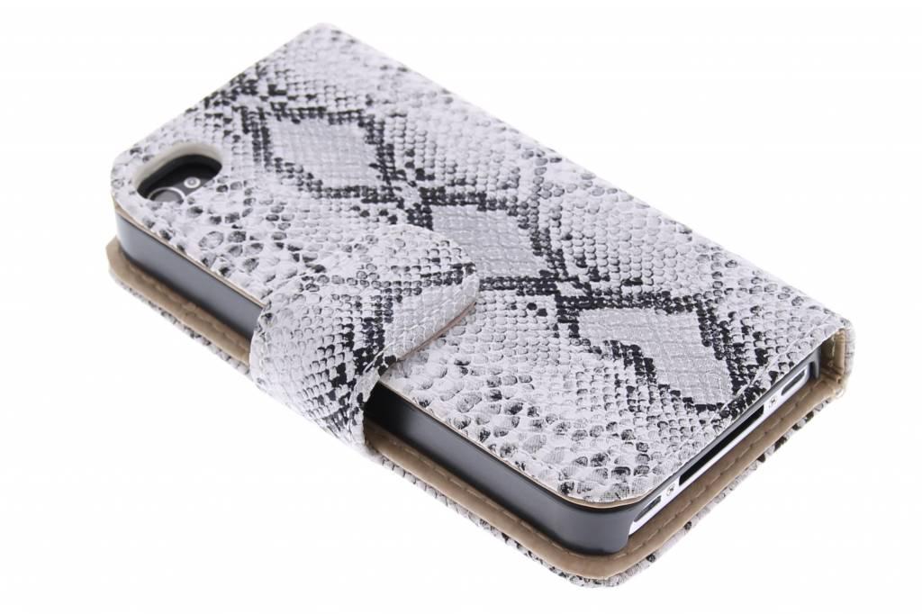 Witte slangenprint booktype hoes voor de iPhone 4 / 4s
