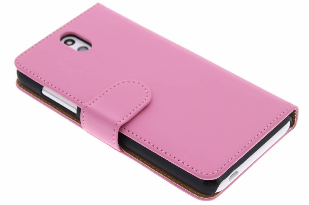 Roze effen booktype hoes voor de HTC Desire 610