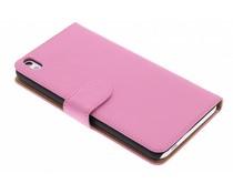 Roze effen booktype hoes HTC Desire 816