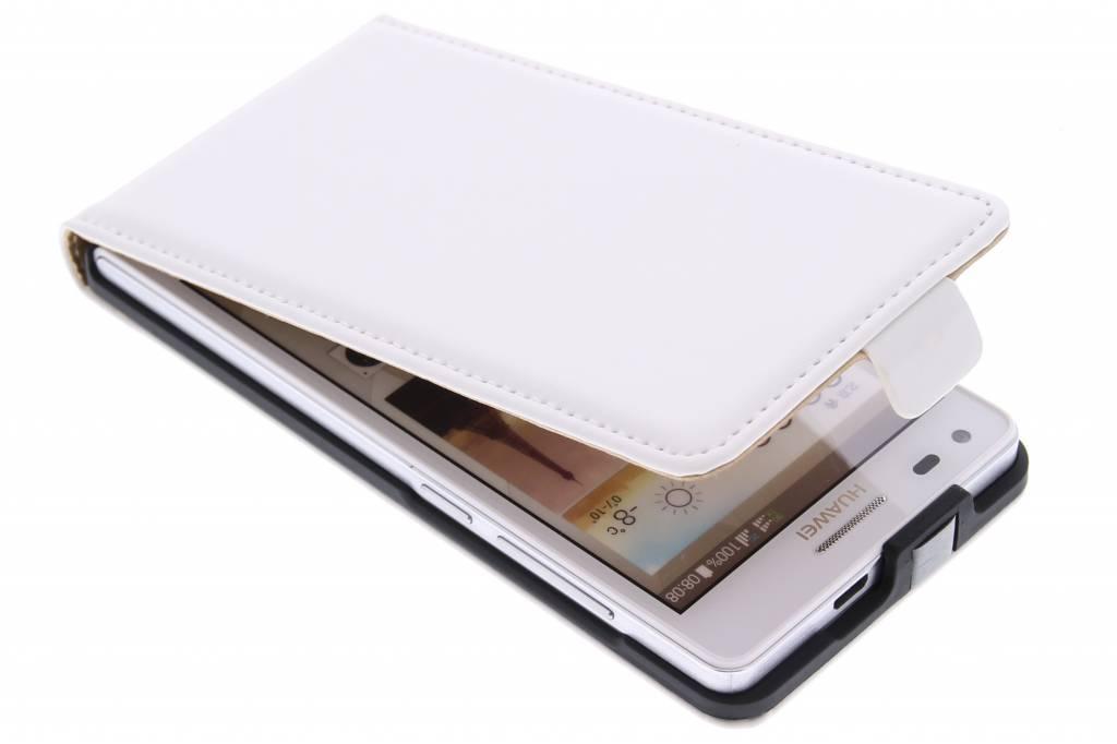 Witte luxe flipcase voor de Huawei Ascend G6
