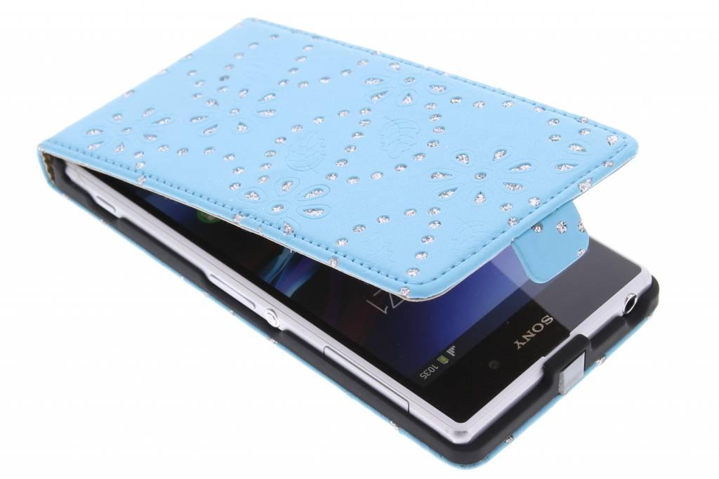Turquoise bloemblad design flipcase voor de Sony Xperia Z1