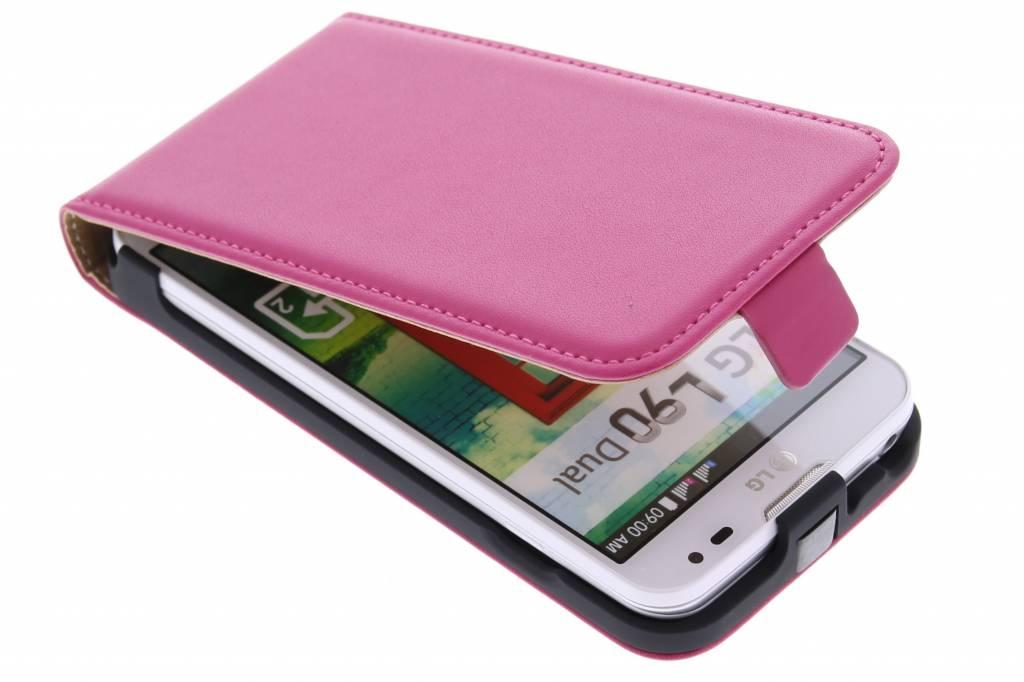 Fuchsia luxe flipcase voor de LG L90