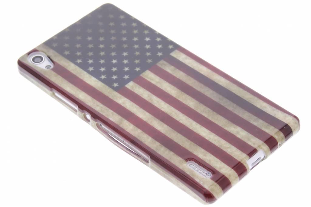 Amerikaanse vlag design TPU siliconen hoesje voor de Huawei Ascend P7