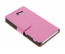 Roze effen booktype hoes Sony Xperia M2 (Aqua)