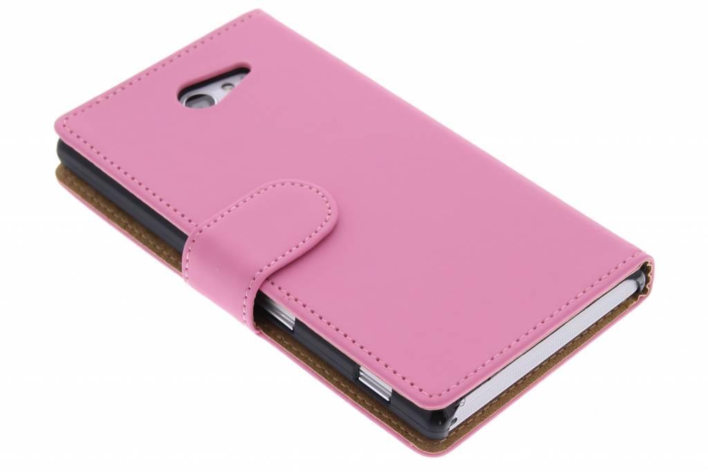 Roze effen booktype hoes voor de Sony Xperia M2 (Aqua)
