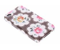 Bruin bloemen design hardcase hoesje iPhone 4 / 4s
