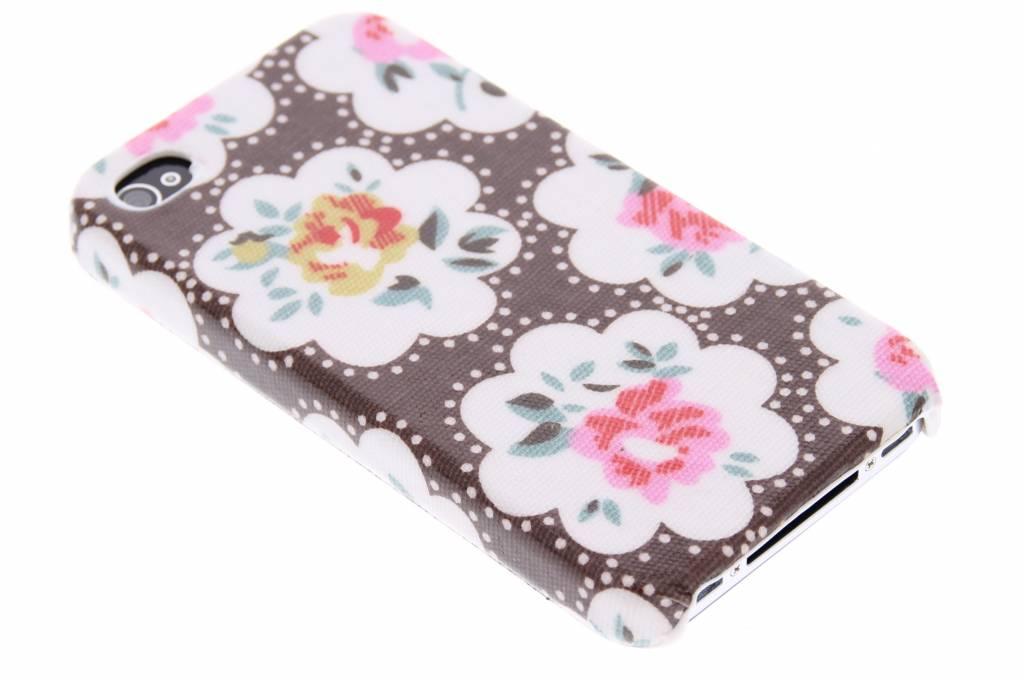 Bruin bloemen design hardcase hoesje voor de iPhone 4 / 4s