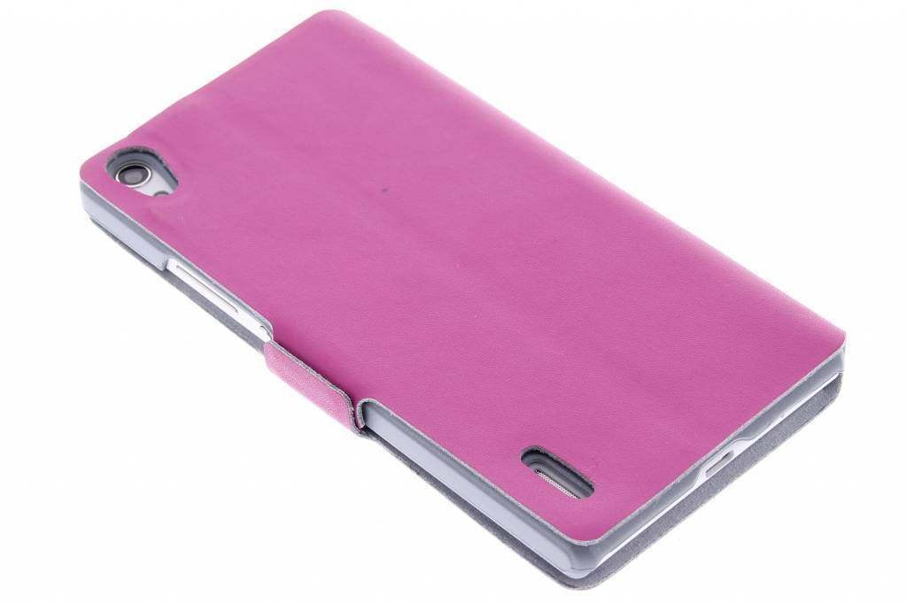 Fuchsia luxe booktype hoes voor de Huawei Ascend P7