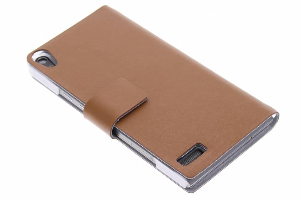 Bruine stijlvolle booktype hoes voor de Huawei Ascend P6 / P6s