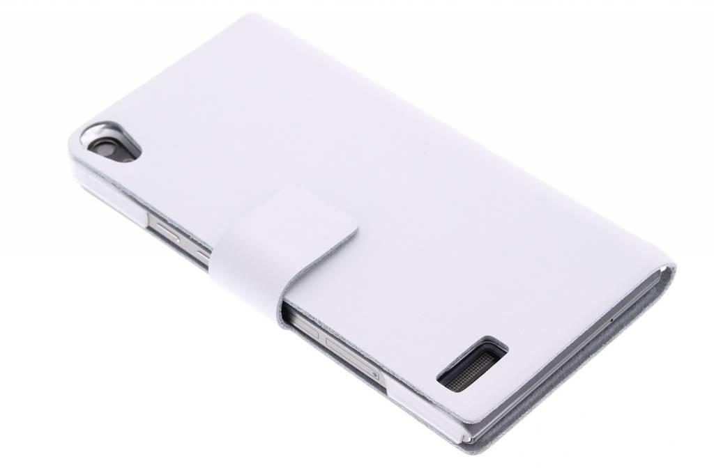 Witte stijlvolle booktype hoes voor de Huawei Ascend P6 / P6s