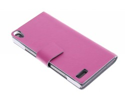 Fuchsia stijlvolle booktype hoes Huawei Ascend P6 / P6s