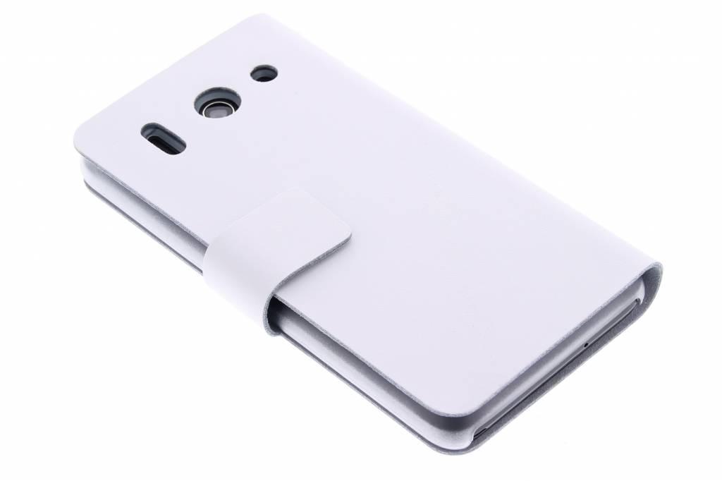 Witte stijlvolle booktype hoes voor de Huawei Ascend G510