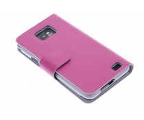 Fuchsia stijlvolle booktype hoes Samsung Galaxy S2 (Plus)