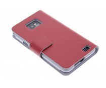 Rood stijlvolle booktype hoes Samsung Galaxy S2 (Plus)