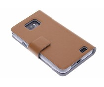 Bruin stijlvolle booktype hoes Samsung Galaxy S2 (Plus)