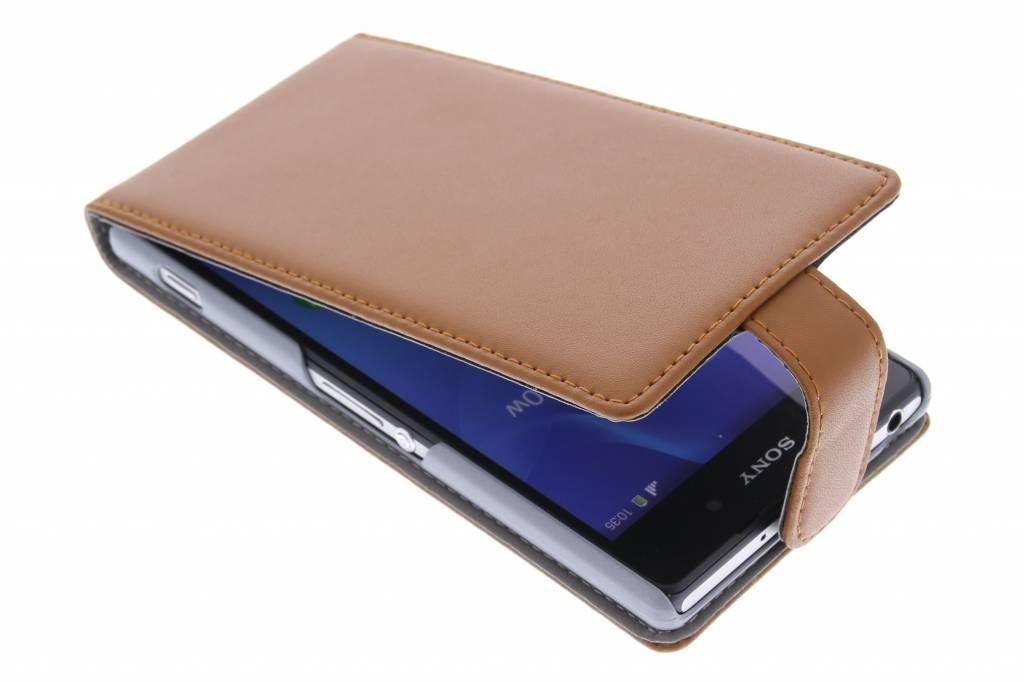 Bruine stijlvolle flipcase voor de Sony Xperia Z2