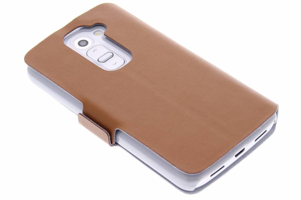 Bruine luxe booktype hoes voor de LG G2 Mini
