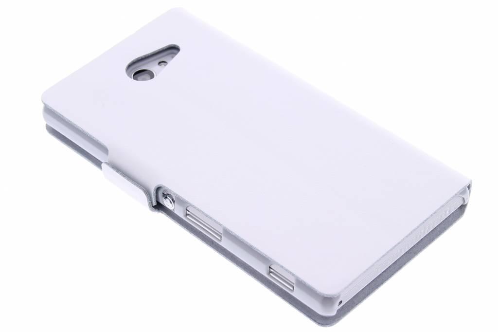 Witte luxe booktype hoes voor de Sony Xperia M2 (Aqua)