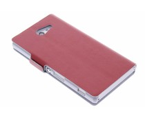 Rood luxe booktype hoes Sony Xperia M2 (Aqua)