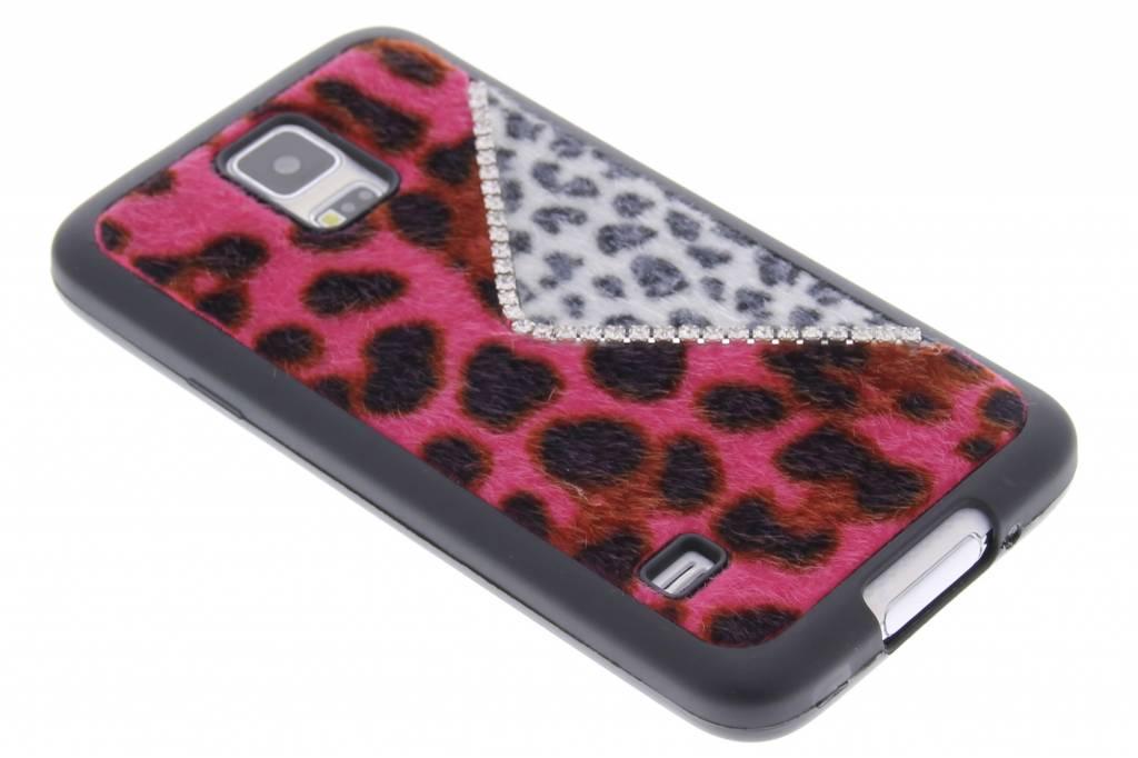 Roze luxe luipaard design TPU siliconen hoesje voor de Samsung Galaxy S5 (Plus) / Neo