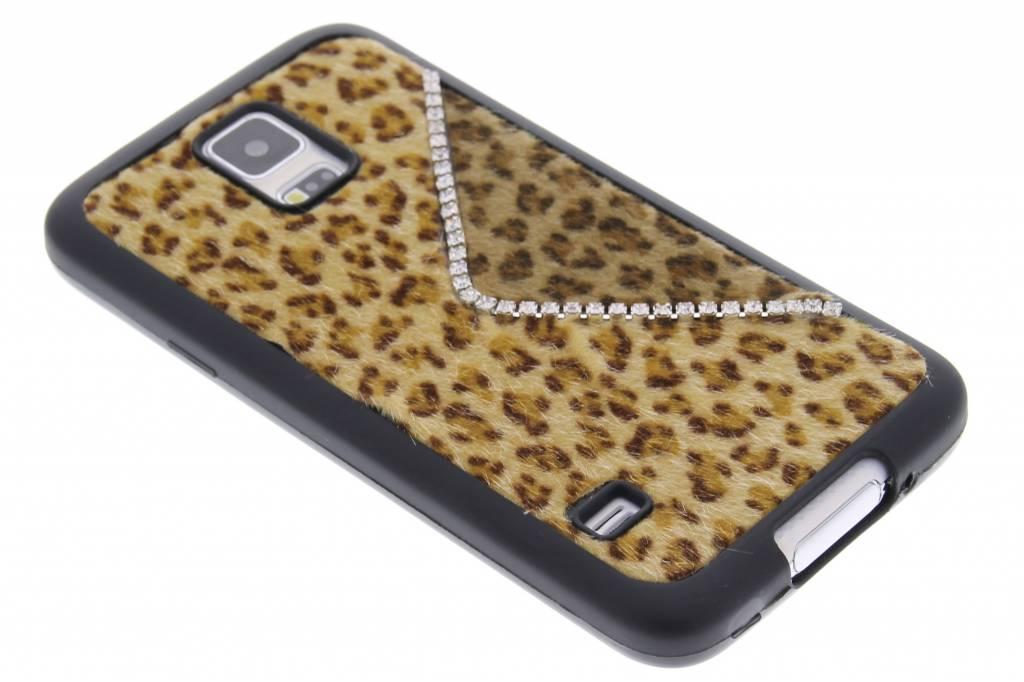 Bruin luxe luipaard design TPU siliconen hoesje voor de Samsung Galaxy S5 (Plus) / Neo