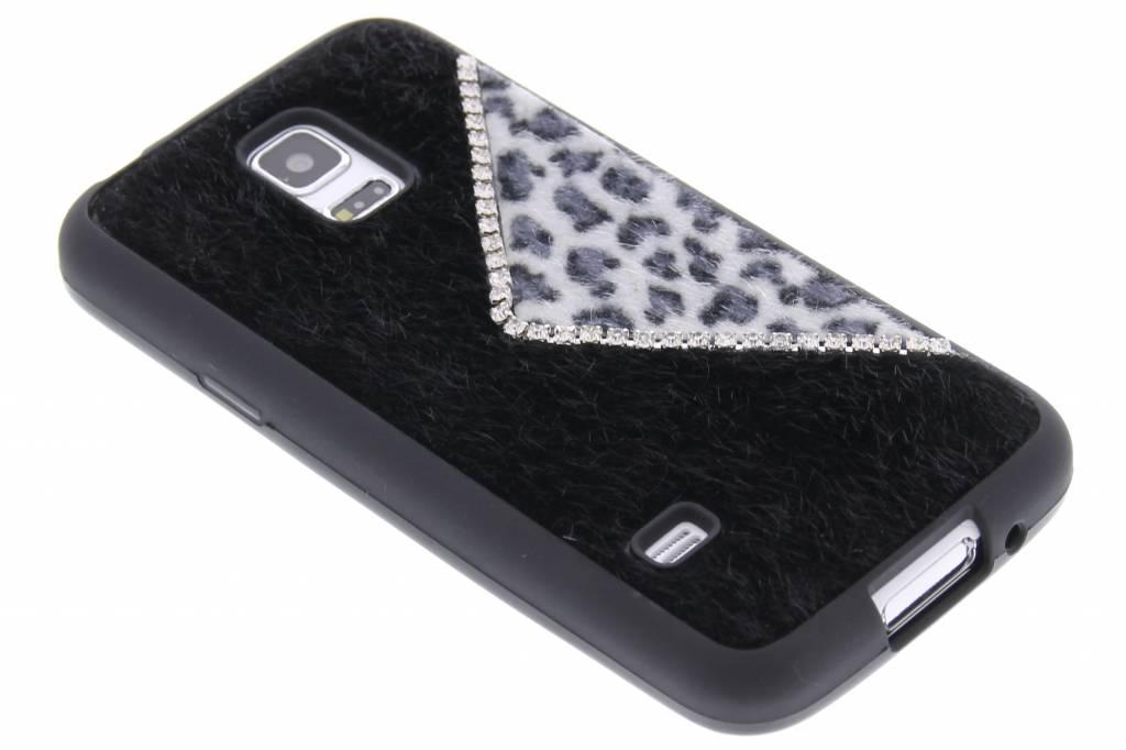 Zwart luxe luipaard design TPU siliconen hoesje Samsung Galaxy S5 mini