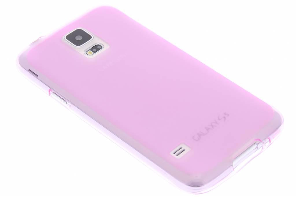 Roze transparant hard siliconen hoesje voor de Samsung Galaxy S5 (Plus) / Neo