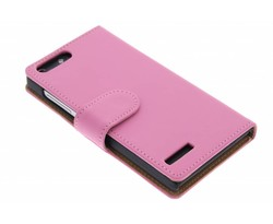 Roze effen booktype hoes Huawei Ascend G6 4G