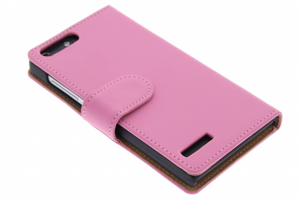Roze effen booktype hoes voor de Huawei Ascend G6 4G