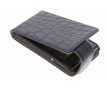 Zwart krokodil flipcase Sony Xperia E