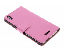 Roze effen booktype hoes Sony Xperia T3