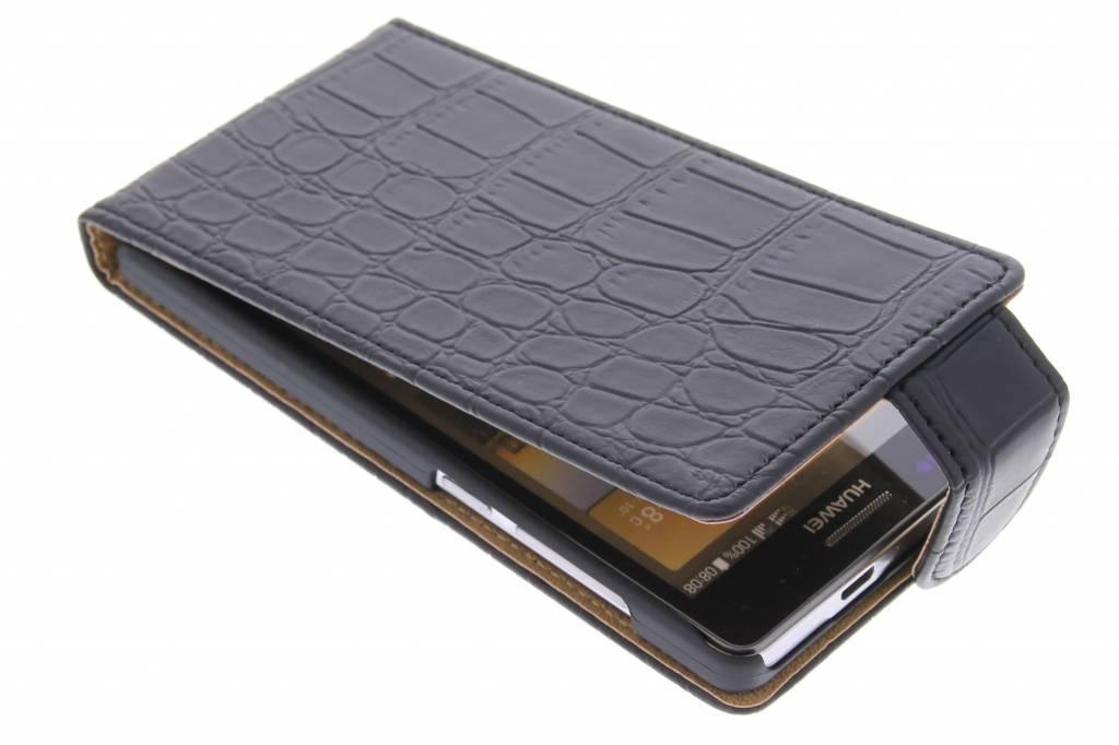 Zwarte krokodil flipcase voor de Huawei Ascend G6