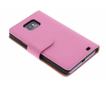 Roze effen booktype hoes Samsung Galaxy S2 (Plus)