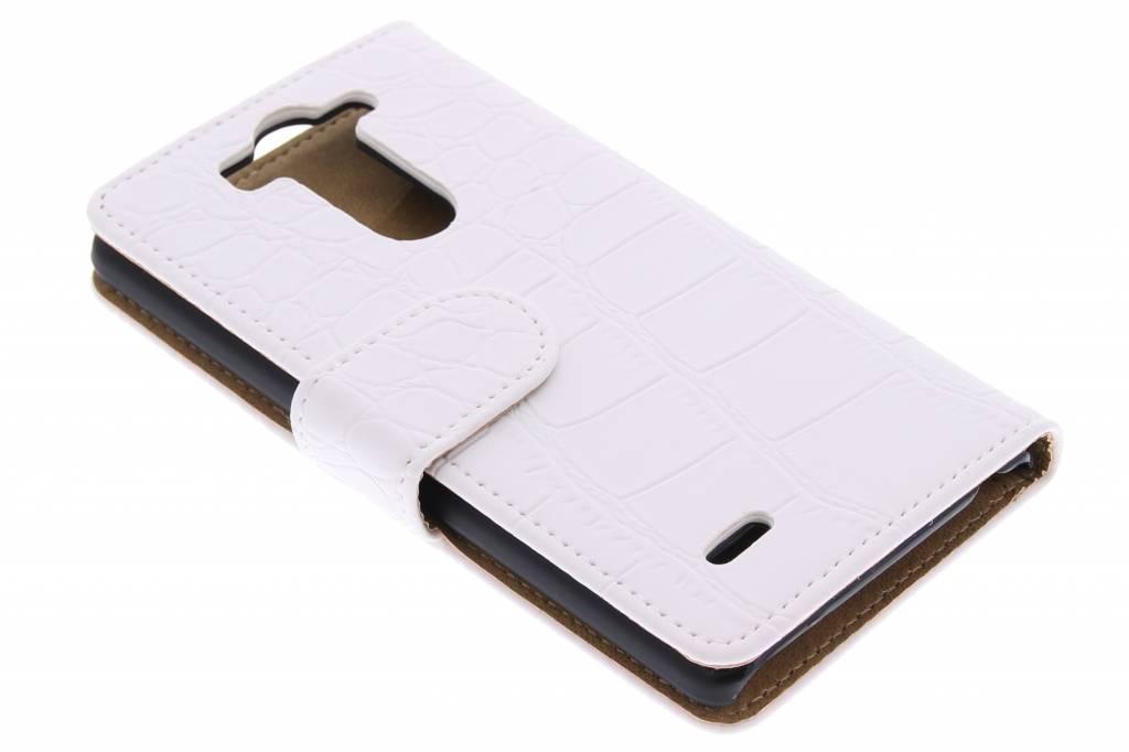 Witte krokodil booktype hoes voor de LG G3 S