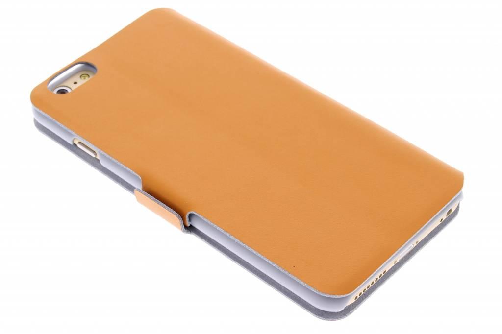 Oranje luxe booktype hoes voor de iPhone 6(s) Plus