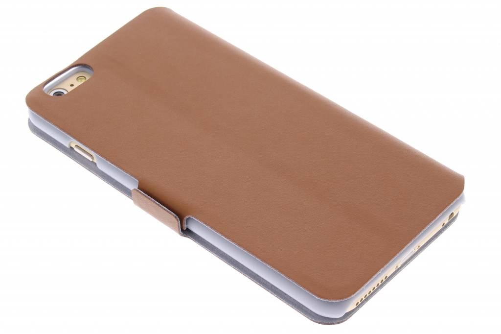 Bruine luxe booktype hoes voor de iPhone 6(s) Plus