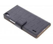 Zwart krokodil booktype hoes Huawei Ascend P7