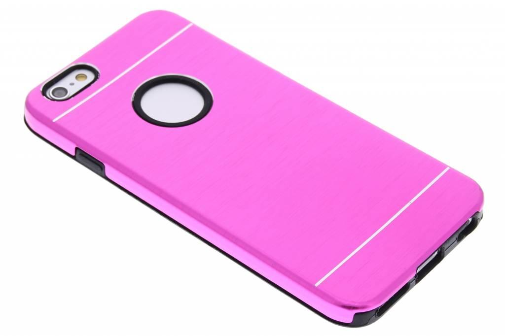 Fuchsia brushed aluminium siliconen hardcase voor de iPhone 6 / 6s