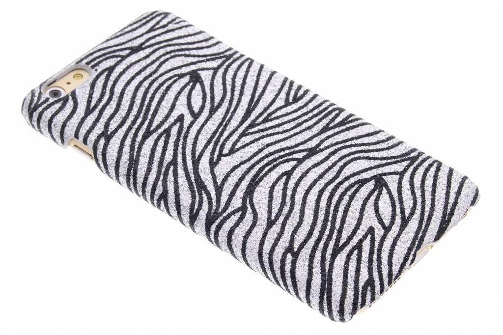 Zilveren zebra glitter hardcase voor de iPhone 6(s) Plus