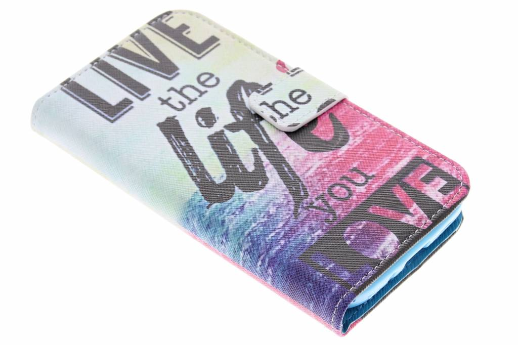 Live the life design TPU booktype hoes voor de Samsung Galaxy S4