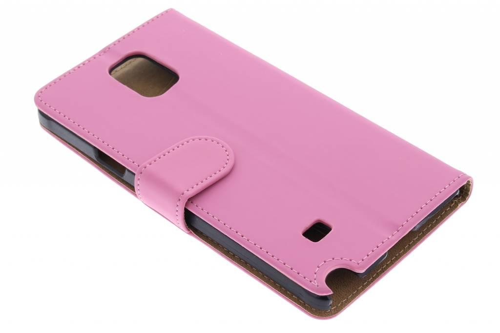 Roze effen booktype hoes voor de Samsung Galaxy Note 4
