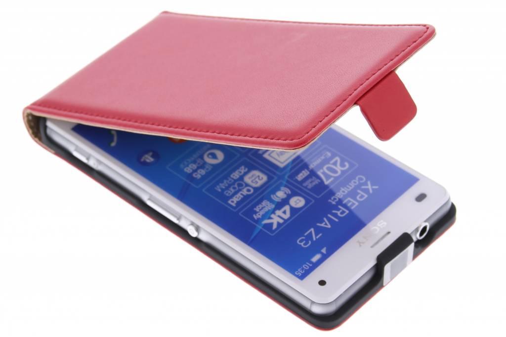 Rode luxe flipcase voor de Sony Xperia Z3 Compact