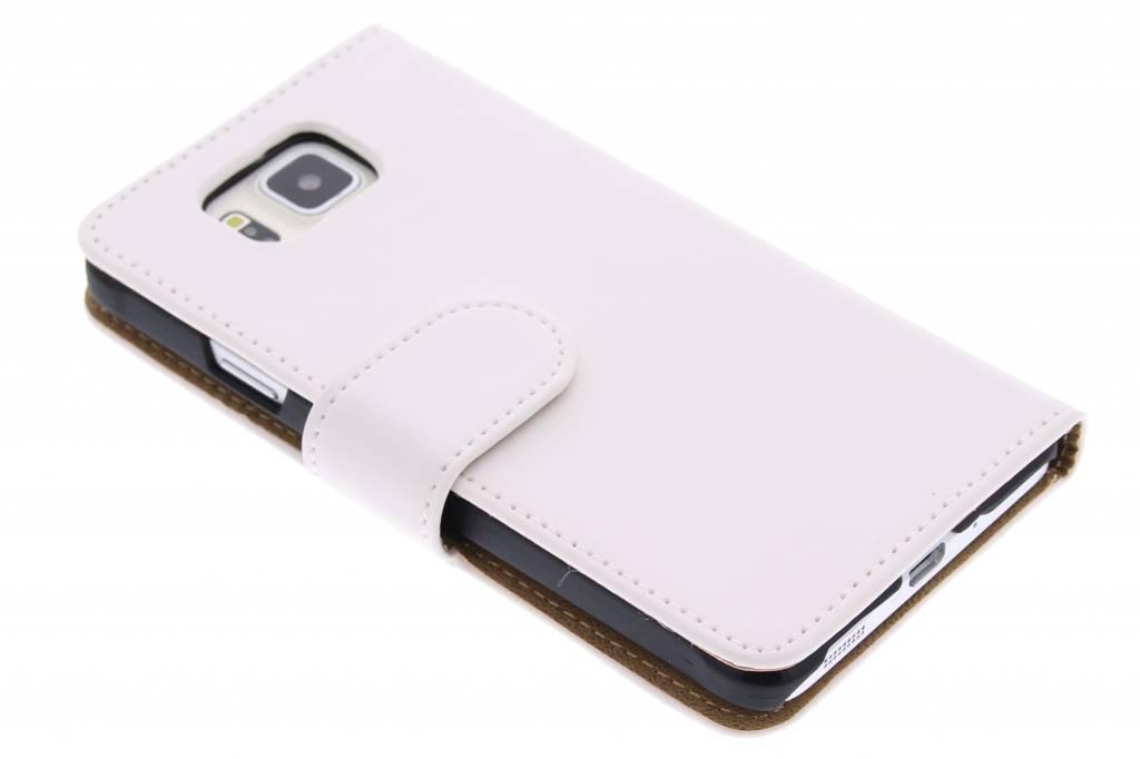 Witte effen booktype hoes voor de Samsung Galaxy Alpha