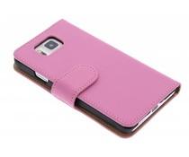 Roze effen booktype hoes Samsung Galaxy Alpha